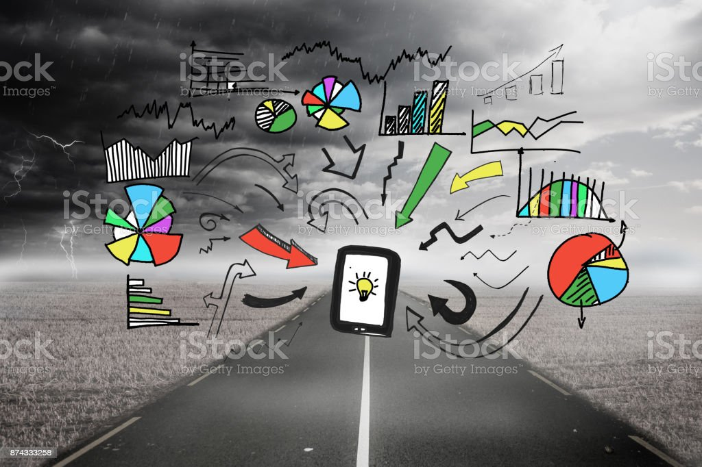 Graphic over stormy landscape background stock photo