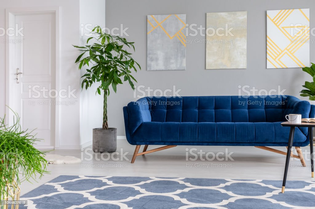 Graphic Paintings On A Gray Wall Behind A Luxuries Velvet Dark Blue Couch In An Elegant Living Room Interior With Gold Accents Real Photo Stock Photo Download Image Now Istock