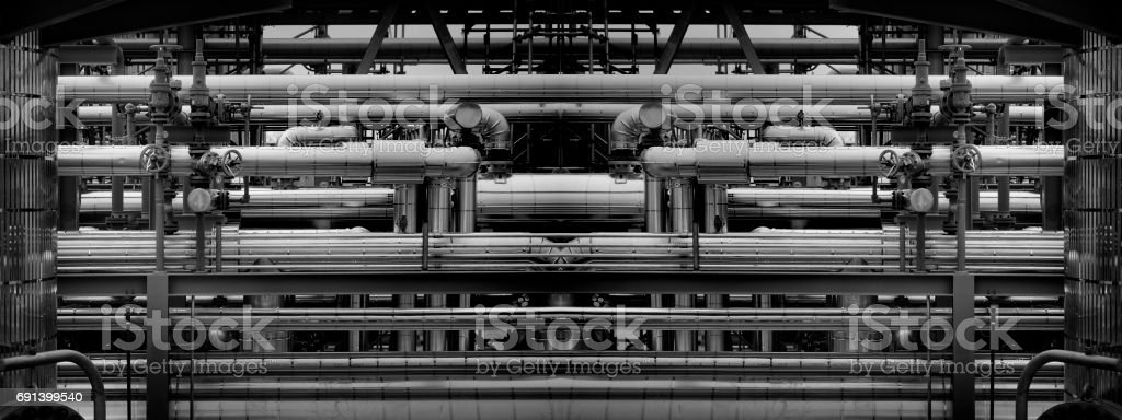 Graphic pipes at an oil refinery V2 stock photo