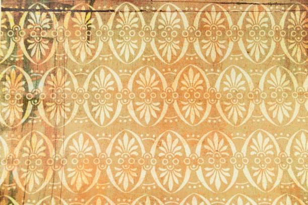 grafische ressource, barocke tapete hintergrund und rokoko ocker, rot und gelb töne, stilisierte blumenmuster - blumendrucktapete stock-fotos und bilder