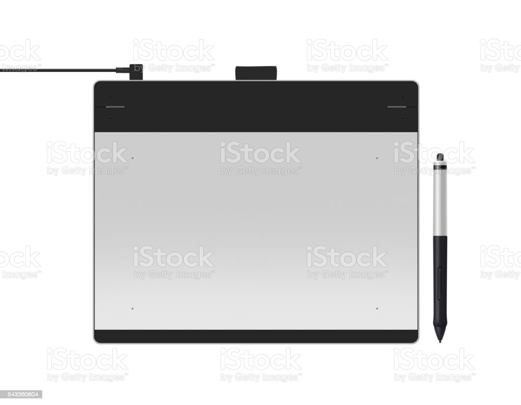 Graphic tablet with stylus illustration. Big picture of digitize stock photo