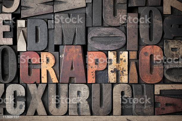 Graphic Wooden Letters Stamps Set Lettering Stock Alphabet Stock Photo - Download Image Now