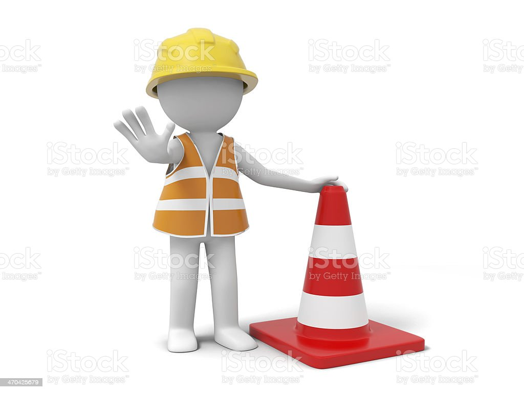 Graphical illustration of a stickman blocking your path stock photo