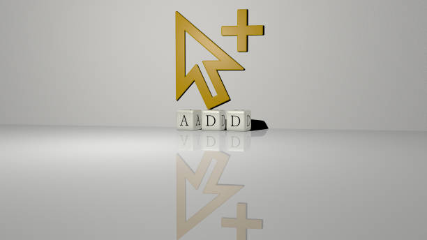 3D graphical image of add vertically along with text built by metallic cubic letters from the top perspective, excellent for the concept presentation and slideshows. illustration and icon 3D illustration of add graphics and text made by metallic dice letters for the related meanings of the concept and presentations append stock pictures, royalty-free photos & images