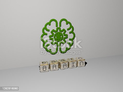 3D illustration of brain graphics and text made by metallic dice letters for the related meanings of the concept and presentations