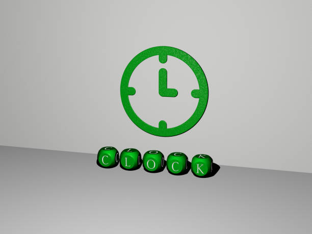 3D graphical image of clock vertically along with text built by metallic cubic letters from the top perspective, excellent for the concept presentation and slideshows. illustration and background 3D illustration of clock graphics and text made by metallic dice letters for the related meanings of the concept and presentations descry stock pictures, royalty-free photos & images