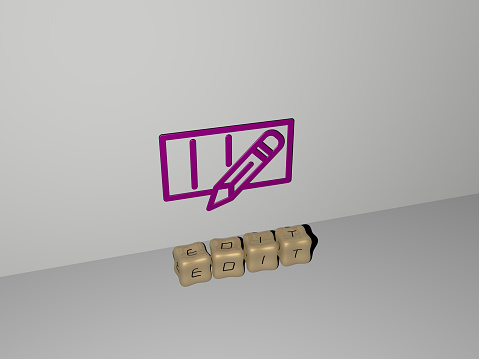 istock 3D graphical image of EDIT vertically along with text built by metallic cubic letters from the top perspective, excellent for the concept presentation and slideshows. icon and easily 1262799514