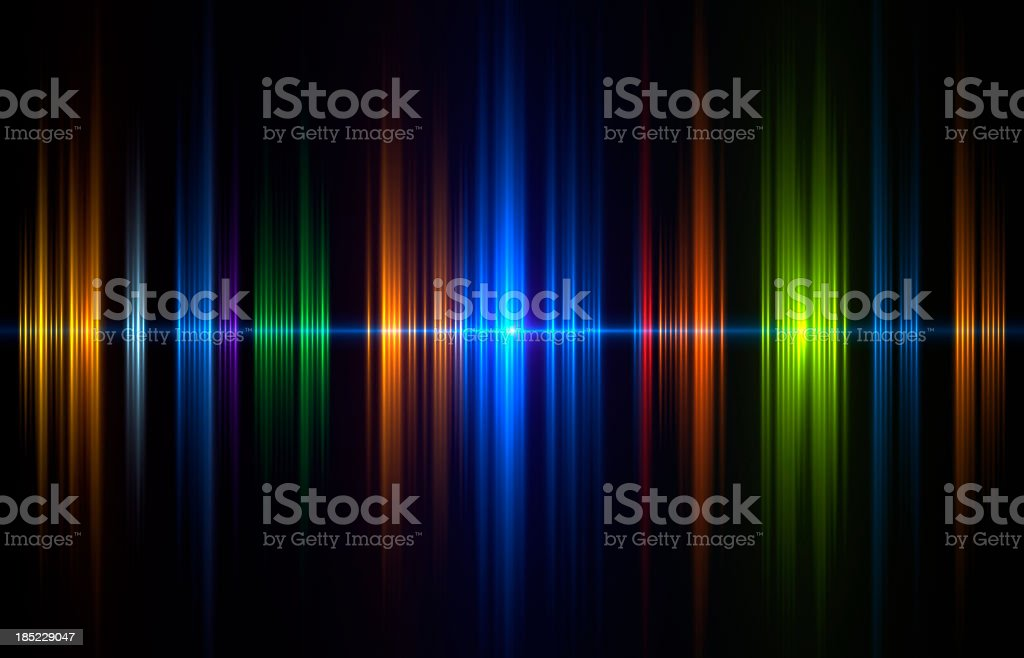 Graphical image of soundwave in blue, green and orange stock photo