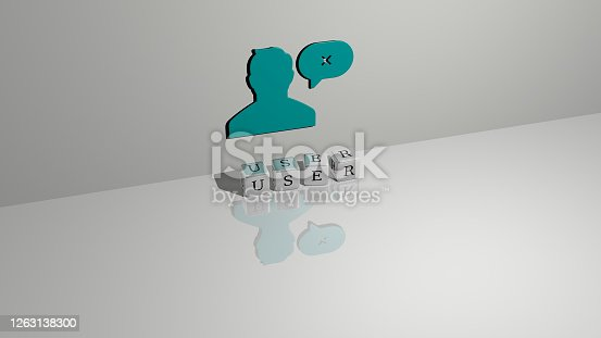 istock 3D graphical image of user vertically along with text built by metallic cubic letters from the top perspective, excellent for the concept presentation and slideshows. illustration and icon 1263138300