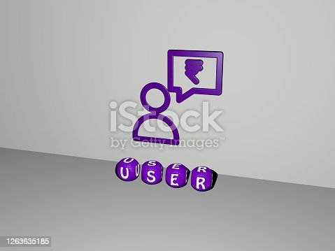 istock 3D graphical image of user vertically along with text built by metallic cubic letters from the top perspective, excellent for the concept presentation and slideshows. illustration and icon 1263635185