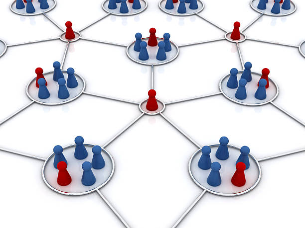 Graphical representation of an affiliate program network Affiliate program 3d concept illustration. Network star. Blue and red  icons. affiliate stock pictures, royalty-free photos & images