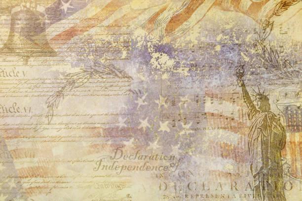 grafische bron verklaring onafhankelijkheid 4 juli usa - geschiedenis stockfoto's en -beelden