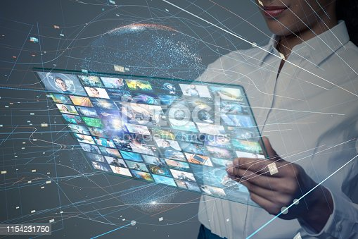 1029147344 istock photo Graphical User Interface of a futuristic tablet device. 1154231750