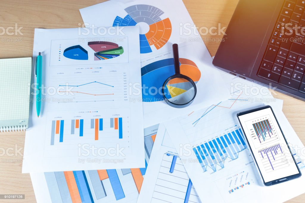 Graphics and charts stock photo