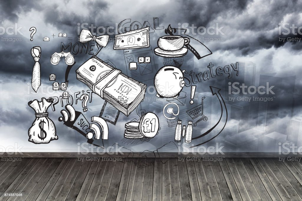 Graphics on wall with stormy sky stock photo