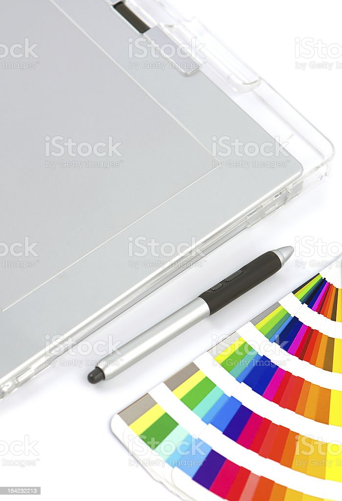 Graphics Tablet, Pen And Colour Chart stock photo
