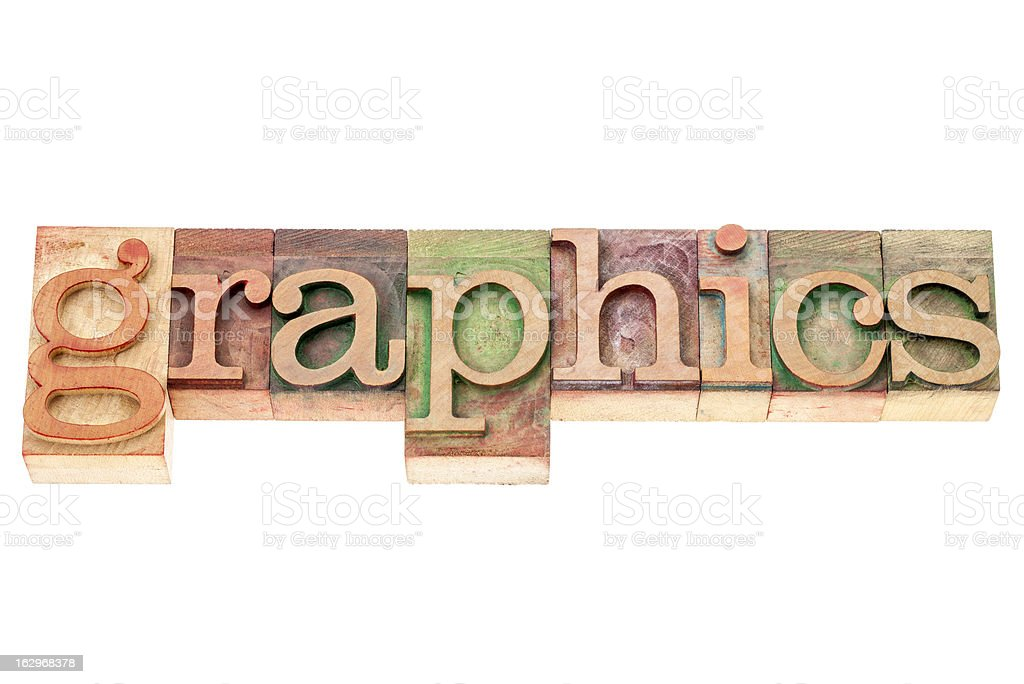 graphics word in wood type royalty-free stock photo