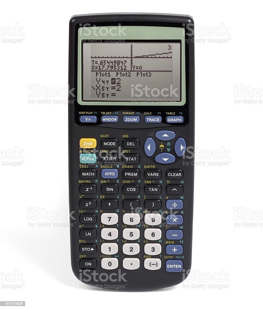 Graphing calculator (clipping path), isolated on white background royalty-free stock photo