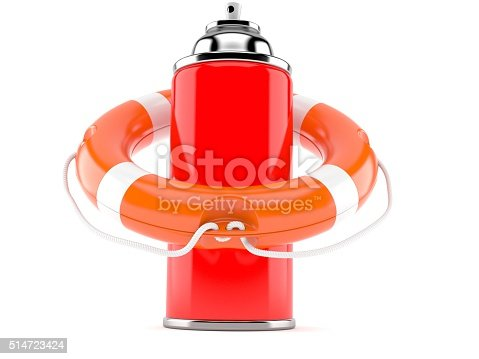 Spray can with life buoy isolated on white background