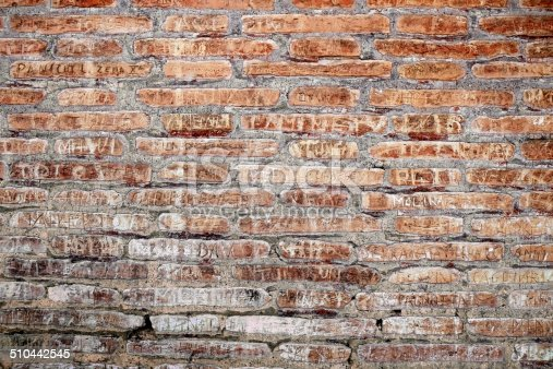 Carved names and messages on ancient brick wall of Roman Coliseum.