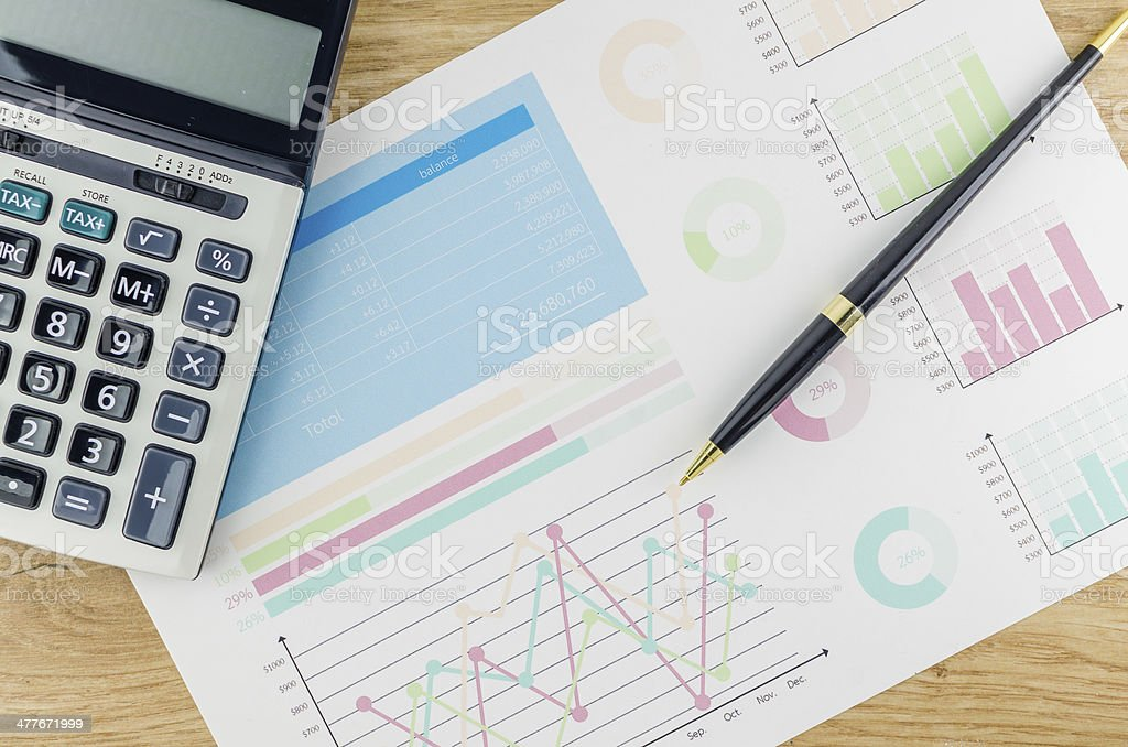 Graphs and Calculator royalty-free stock photo