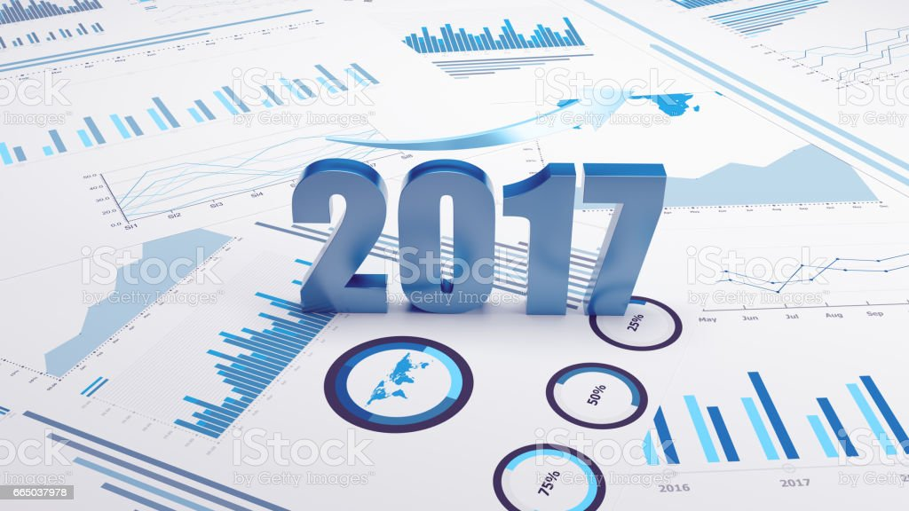 Graphs and charts 2017 trends stock photo