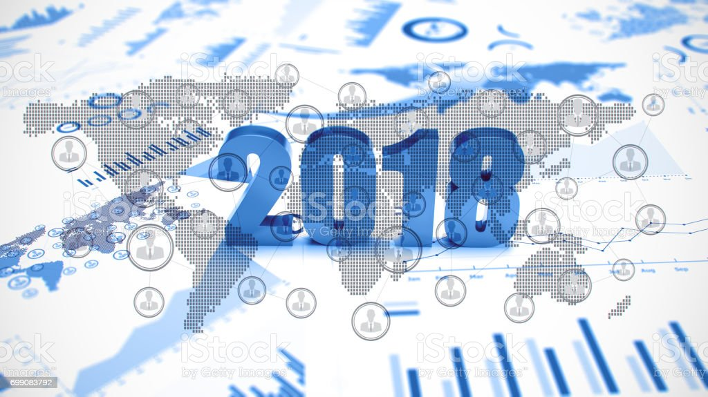 Graphs and charts 2018 trends stock photo