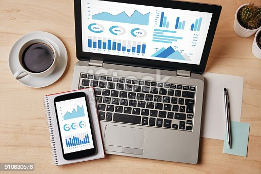 istock Graphs and charts elements on laptop and smartphone screen 910630576