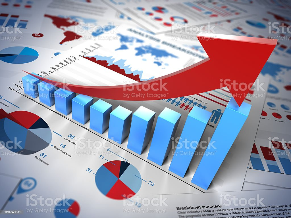 Graphs and charts with up arrow royalty-free stock photo