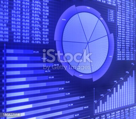 istock Graphs and financial charts in purple 186827118