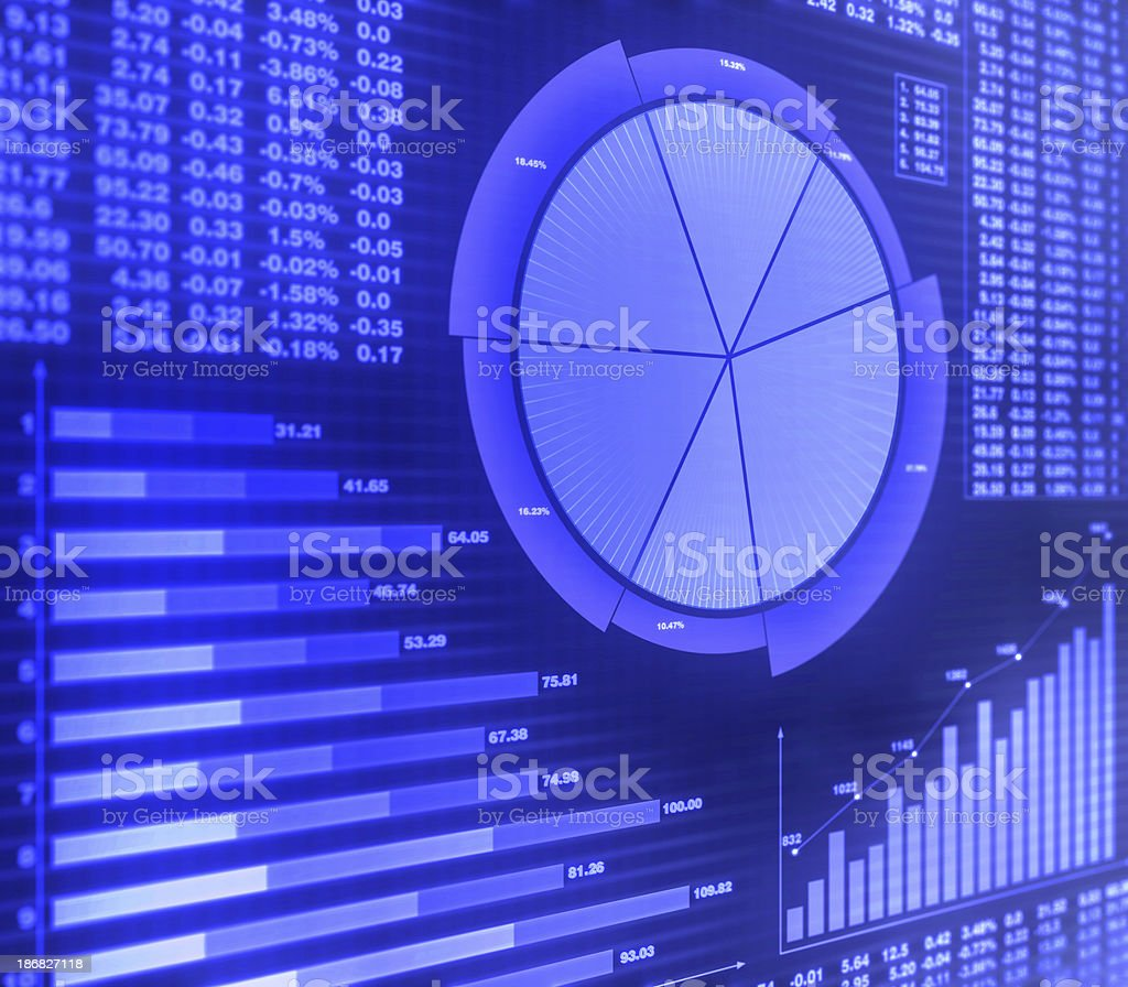 Graphs and financial charts in purple stock photo
