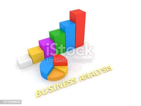 istock Graphs and inscription of the business analyst . 1073598530