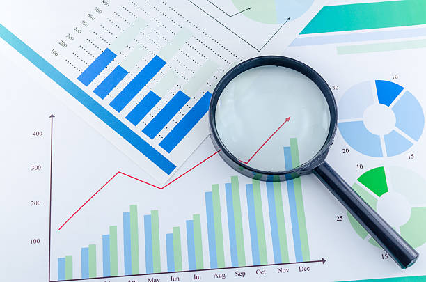 Graphs and Magnifying glass Graphs and Magnifying glass financial report stock pictures, royalty-free photos & images