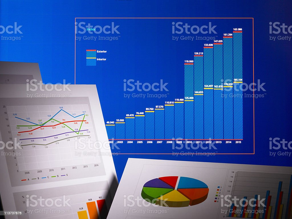 Graphs and tables stock photo