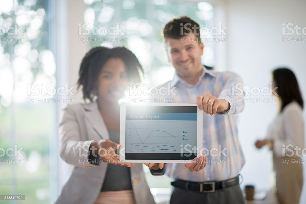 Graphs of Annual Reports stock photo