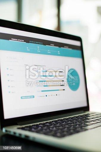 Business analysis app design on screen of laptop