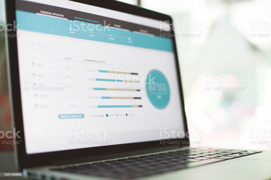 Graphs on laptop screen stock photo