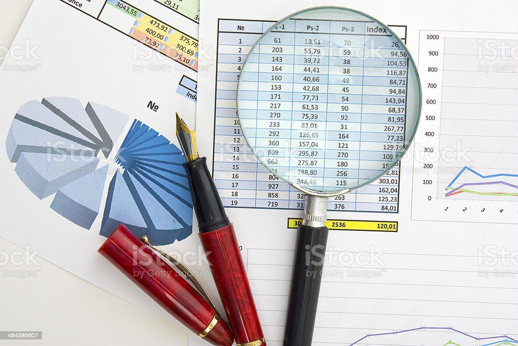 Graphs tables and documents royalty-free stock photo