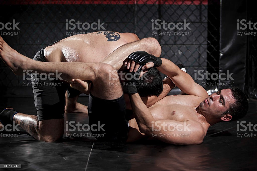 Grappling and controlling his rival royalty-free stock photo