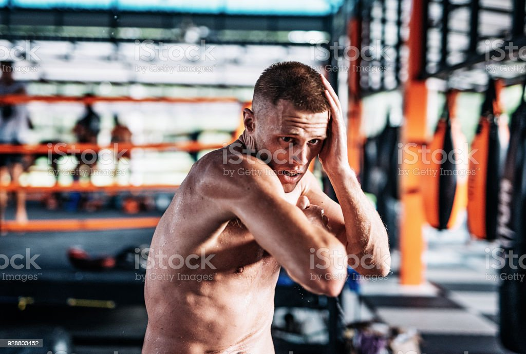 Grappling Or Mma Fighter On Training Warm Up Stock Photo