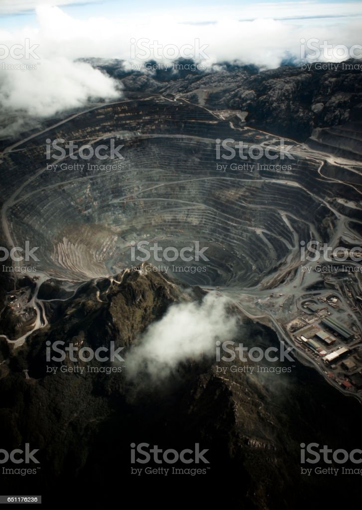 Grasberg mine from the air stock photo