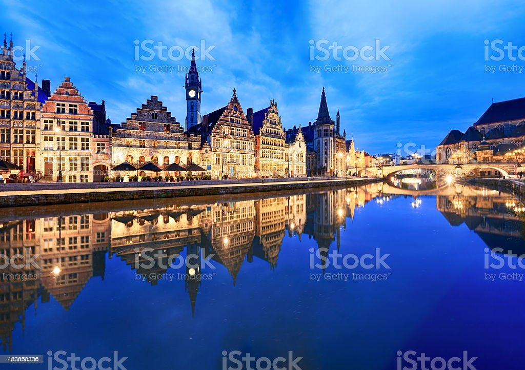Graslei Harbour at dusk, Ghent, Belgium stock photo