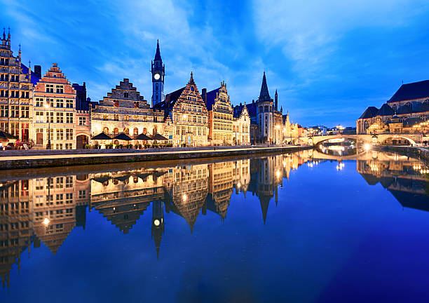 Graslei Harbour at dusk, Ghent, Belgium Ghent at evening, Belgium belgium stock pictures, royalty-free photos & images