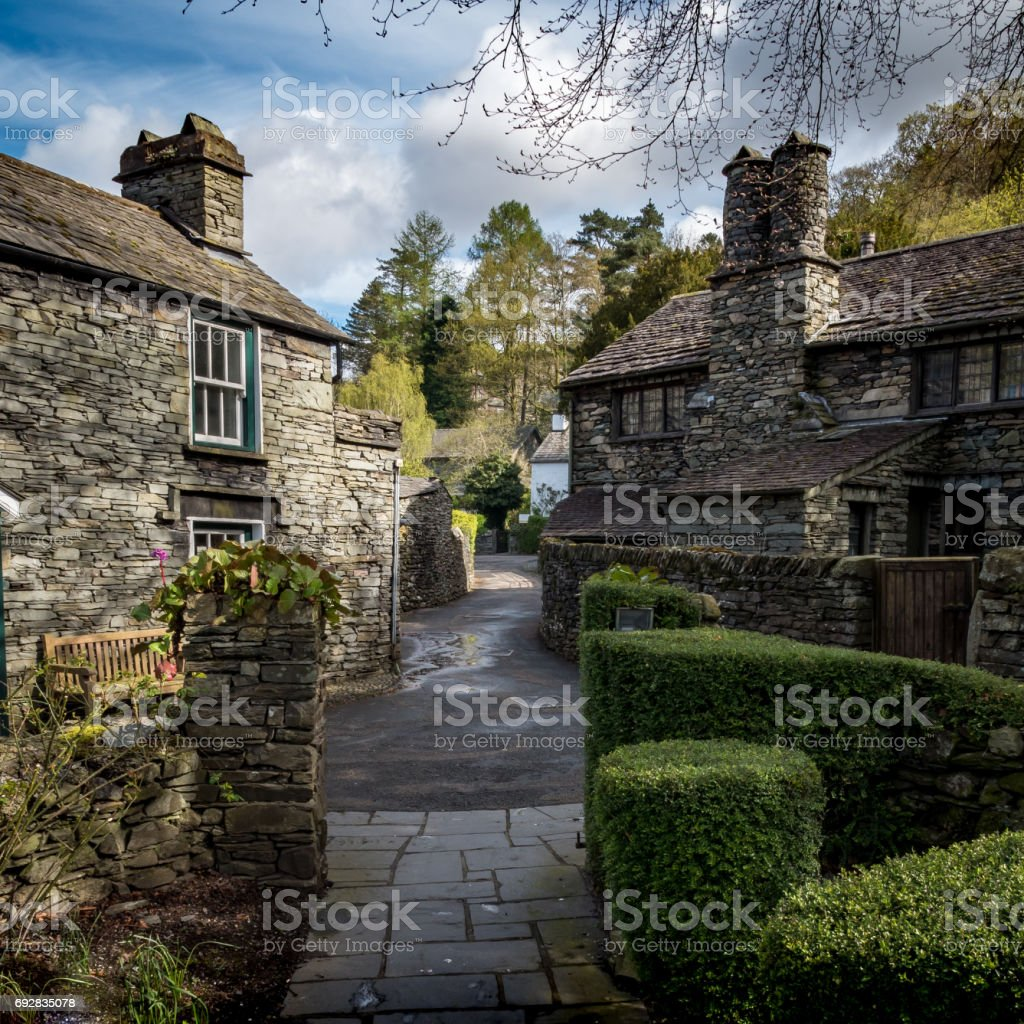 Grasmere cottages, Lake District, Cumbria, England stock photo