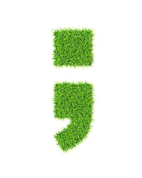 gras-alphabet semicolon zeitraum komma - komma stock-fotos und bilder
