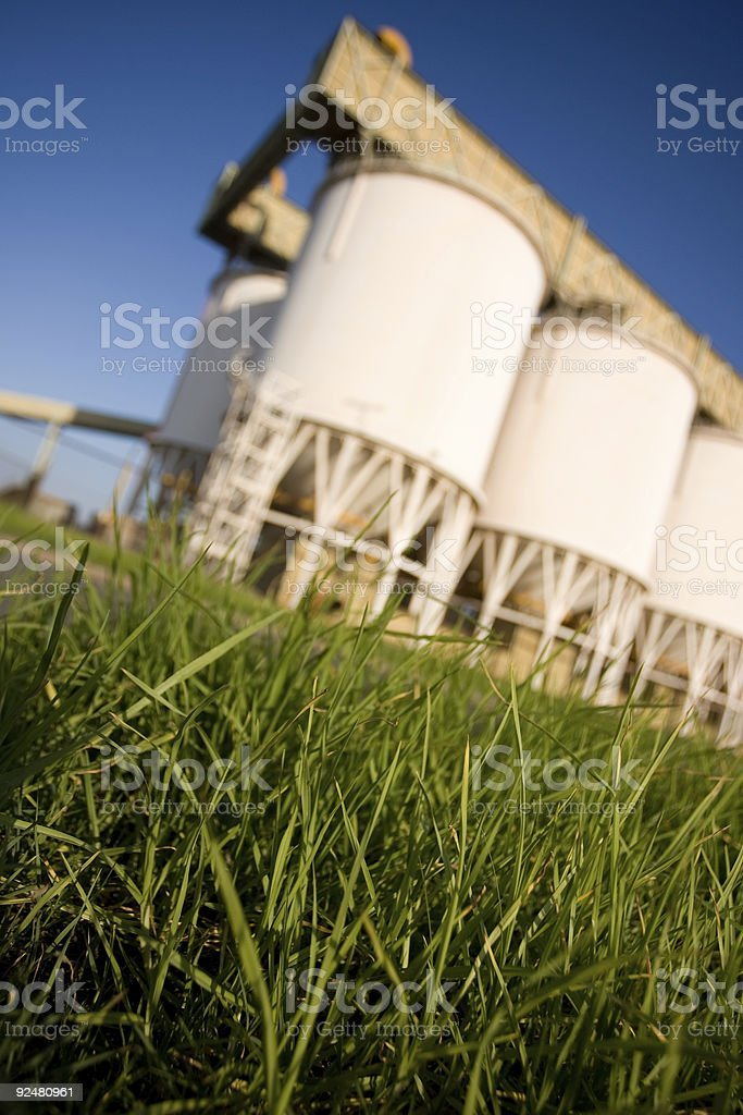 Grass and silos royalty-free stock photo