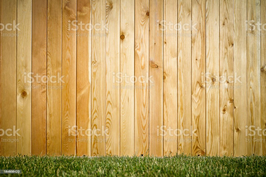 Grass and wood wall, natural background stock photo