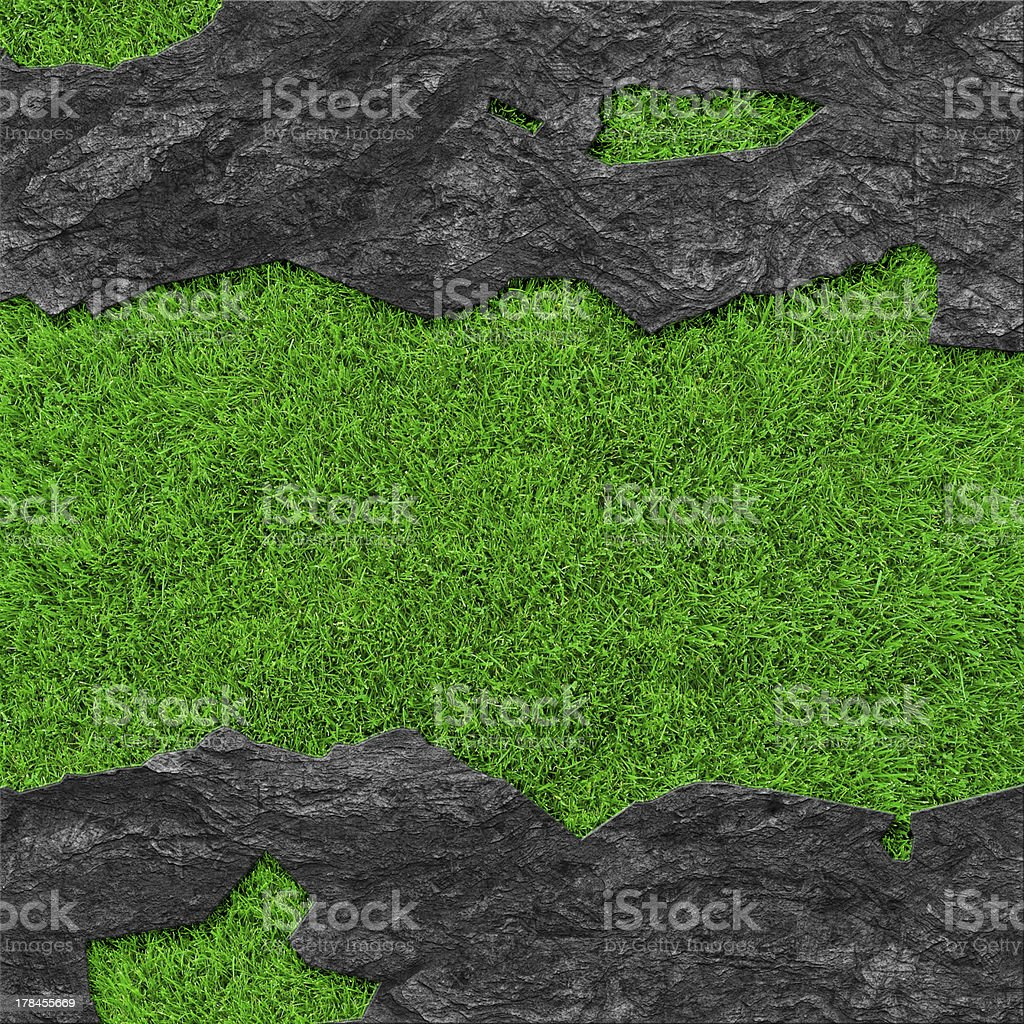 Grass background with stone frame royalty-free stock photo
