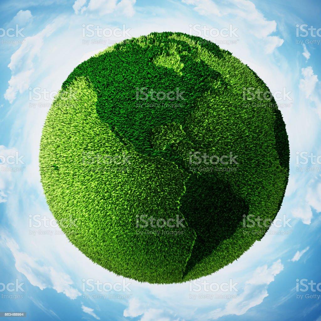 Grass bedeckt Globus mit Weltkarte, umgeben mit blauem Himmel – Foto