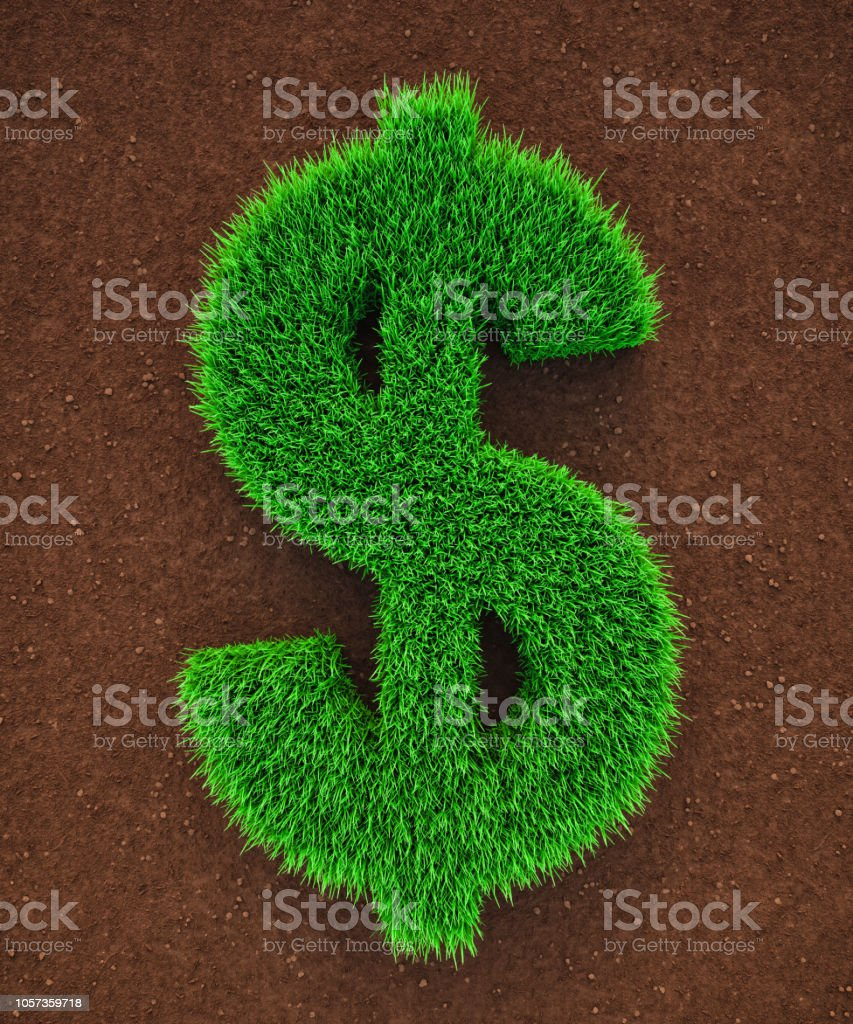 Grass Dollar Symbol stock photo